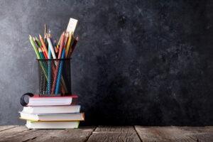 Pencils and blackboard